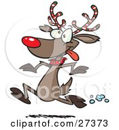 Clipart Illustration Of Rudolph The Red Nosed Reindeer With Festive Red White And Green Striped Antlers Running In The Snow