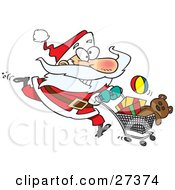 Clipart Illustration Of An Energetic Santa Claus Running Through A Retail Store With A Shopping Cart Full Of Toys For Christmas Gifts by Ron Leishman