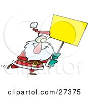 Clipart Illustration Of A Cross Eyed Santa Walking Around With A Blank Yellow Sign For Advertising