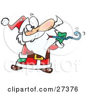Clipart Illustration Of Santa Claus At A Party Blowing A Noise Maker Blower by Ron Leishman