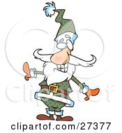 Clipart Illustration Of Santa Claus Posing And Grinning While Showing Off His Unique And Stylish Plaid Suit And Hat by toonaday