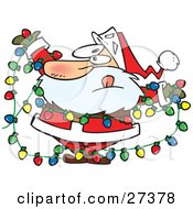 Clipart Illustration Of Santa Claus Tangled In A Mess Of Colorful Christmas Lights While Trying To Decorate His Home