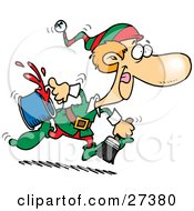 Clipart Illustration Of One Of Santas Elves Running To Paint A Wall Red For Christmas Time by toonaday