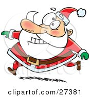 Clipart Illustration Of Santa Claus Grinning And Running In His Red Suit by Ron Leishman