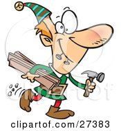 Clipart Illustration Of Santas Male Elves Biting Two Nails In His Mouth And Carrying Plywood And A Hammer To The Toy Shop