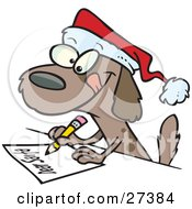 Clipart Illustration Of A Festive Brown Puppy Dog Wearing A Santa Hat And Writing A Dear Santa Letter With His Christmas Wishes