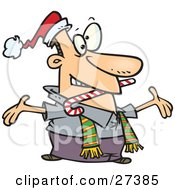 Clipart Illustration Of A Hyper And Welcoming Caucasian Man Wearing A Santa Hat And Scarf Biting A Candy Cane And Holding His Arms Wide Open While Greeting Friends Or Family by Ron Leishman