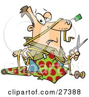Clipart Illustration Of A Clueless Caucasian Man With A Tag Taped To His Nose And Wrapping Paper Taped To His Shirt Holding A Pair Of Scissors And Shrugging While Trying To Wrap Christmas Gifts by toonaday