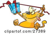 Clipart Illustration Of A Spoiled Orange Cat Sitting And Pulling The Ribbon Of A Christmas Present Wrapped In Blue Snowflake Patterned Gift Wrap