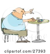 Clipart Illustration Of A Diabetic White Man Sitting In A Chair At A Table And Pricking His Finger With A Lancing Device For A Blood Sample