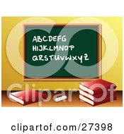 Clipart Illustration Of Chalk And School Books In Front Of A Green Chalkboard With The Alphabet Written On It In A Class Room