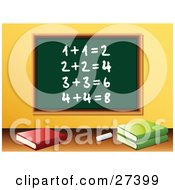Clipart Illustration Of Chalk And School Books In Front Of A Green Chalkboard With Solved Addition Written On It In A Math Class Room