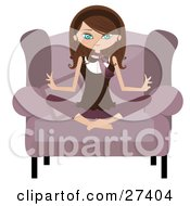 Calm Brunette Caucasian Woman Sitting Cross Legged In A Pink Chair And Meditating