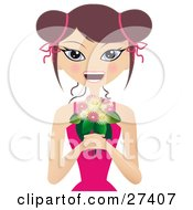 Clipart Illustration Of A Happy Caucasian Woman In A Pink Dress Smiling And Holding A Bunch Of Pink And White Flowers