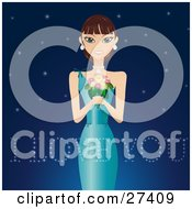 Clipart Illustration Of A Beautiful Woman In An Evening Gown Holding A Bouquet Of Flowers And Wearing Diamonds Smiling And Standing Against A Starry Night Background With I Love You Text by Melisende Vector