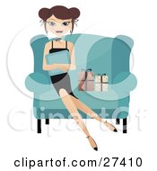 Clipart Illustration Of A Happy Caucasian Woman Sitting In A Big Chair Hugging A Pillow And Smiling With Two Gifts At Her Side
