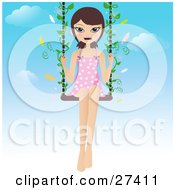 Clipart Illustration Of A Happy Brunette Woman In A Pink And White Polka Dot Dress Swinging With Butterflies On A Summer Day
