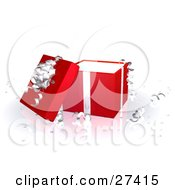 Clipart Illustration Of An Open Red Gift Box With Silver Ribbons And A Bow