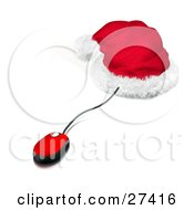 Clipart Illustration Of A Red And Black Corded Computer Mouse Sticking Out Of A Santa Hat Symbolizing Christmas Shopping Online