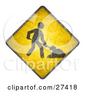 Yellow Road Sign With A Person Digging On A White Background