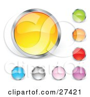 Clipart Illustration Of A Collection Of Yellow Green Orange Red Purple Pink Gray And Blue Circular Buttons