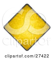 Blank Yellow Cautionary Road Sign With A Black Edge Over White
