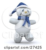 Clipart Illustration Of Frosty The Snowman In 3d Wearing A Blue Hat And Scarf Smiling And Walking by KJ Pargeter