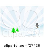 Clipart Illustration Of Frosty The Snowman Wearing A Black Hat And Smiling On A Hilly Snow Covered Landscape With Evergreen Trees And Light Bursting From The Sky by KJ Pargeter