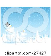 Clipart Illustration Of Frosty The Snowman And A Friend Chatting At The Edge Of An Evergreen Forest Flocked In Snow On A Snowing Night by KJ Pargeter