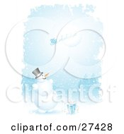 Clipart Illustration Of Frosty The Snowman With A Gift Smiling And Looking Up While Santa His Sleigh And Reindeer Fly In Front Of The Moon On A Snowing Night