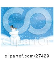 Clipart Illustration Of Frosty The Snowman Grinning And Playing In The Snow On A Blue Wintry Night by KJ Pargeter