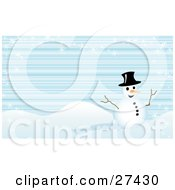 Clipart Illustration Of Frosty The Snowman Smiling And Holding His Stick Arms Out On A Hilly Winter Landscape With Snowflakes And A Blue Lined Background by KJ Pargeter