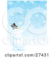 Clipart Illustration Of Frosty The Snowman Smiling And Having Fun Playing In Snowflakes by KJ Pargeter