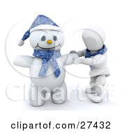 Clipart Illustration Of A White Character Doing The Final Touches On His Snowman