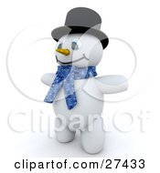 Clipart Illustration Of Frosty The Snowman In 3d Wearing A Black Hat And A Blue Scarf