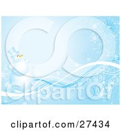 Clipart Illustration Of Frosty The Snowman Smiling And Standing On Blue And White Waves Over A Gradient Background With Ornaments And Snowflakes by KJ Pargeter