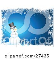 Frosty The Snowman With A Carrot Nose Wearing A Black Hat And Smiling While Standing With Blue Christmas Presents Over A Gradient Blue Background Bordered With Snowflakes