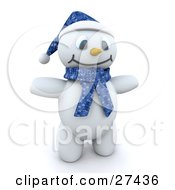 Clipart Illustration Of Frosty The Snowman In 3d Wearing A Blue Hat And Scarf And Holding His Arms Out by KJ Pargeter