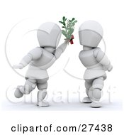 White Character Leaning In For A Kiss While Holding Mistletoe Between Himself And A Woman
