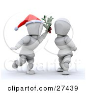 Clipart Illustration Of A White Character Wearing A Santa Hat Holding Mistletoe Between A Woman And Leaning In For A Kiss by KJ Pargeter