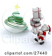 Clipart Illustration Of Santa Claus Smiling And Carrying A Stack Of Christmas Presents To Put Them Under A Green Spiral Christmas Tree