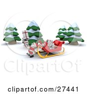 Clipart Illustration Of Santa Carrying A Stack Of Gifts From His Sleigh To A Home In The Woods On Christmas Eve