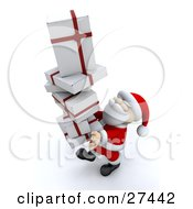 Clipart Illustration Of Santa Claus Smiling And Carrying A Tall Stack Of White And Red Christmas Presents