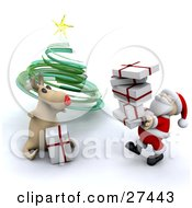 Rudolph The Red Nosed Reindeer Sitting And Helping Santa Claus Stack Presents Under A Green Spiral Christmas Tree