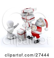 Clipart Illustration Of A White Character Sitting On The Ground And Holding His Arms Up To Take A Stack Of Gifts From Santa