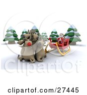 Clipart Illustration Of Rudolph And Santas Other Reindeer Huddled In Front Of St Nicks Sleigh In The Woods by KJ Pargeter