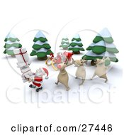 Rudolph And Two Other Reindeer Walking Behind Santa Claus Near His Sleigh In The Woods While Delivering Christmas Presents