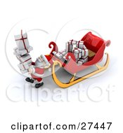 Clipart Illustration Of Santa Carrying A Stack Of Gifts Past His Sleigh While Delivering Presents On Christmas Eve by KJ Pargeter