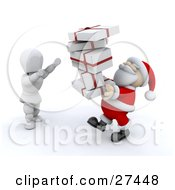 Clipart Illustration Of A White Character Standing And Holding His Arms Up To Take A Stack Of Presents From Santa Claus