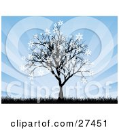 Clipart Illustration Of A Bare Silhouetted Tree With Snowflakes Sticking To The Tips Of The Branches With Tall Grasses And A Bursting Blue Background